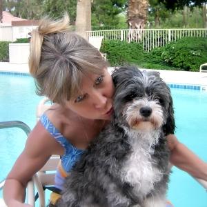 Charlie Bear with B.J. at Pool