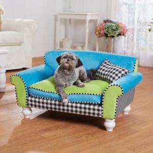 dog on blue bed