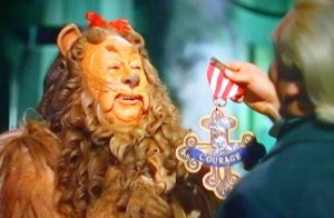 lion with courage medal